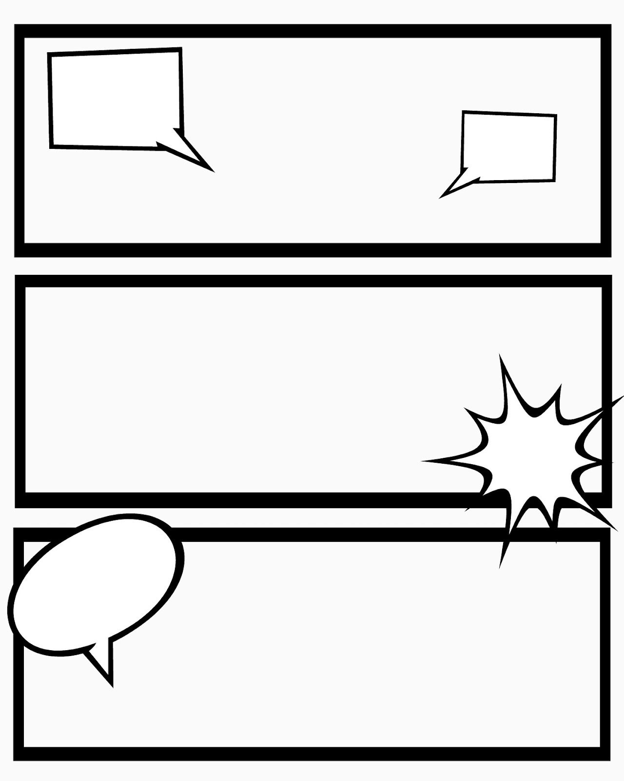 Printable comic strips for narration sweet hot mess for Printable blank comic strip template for kids