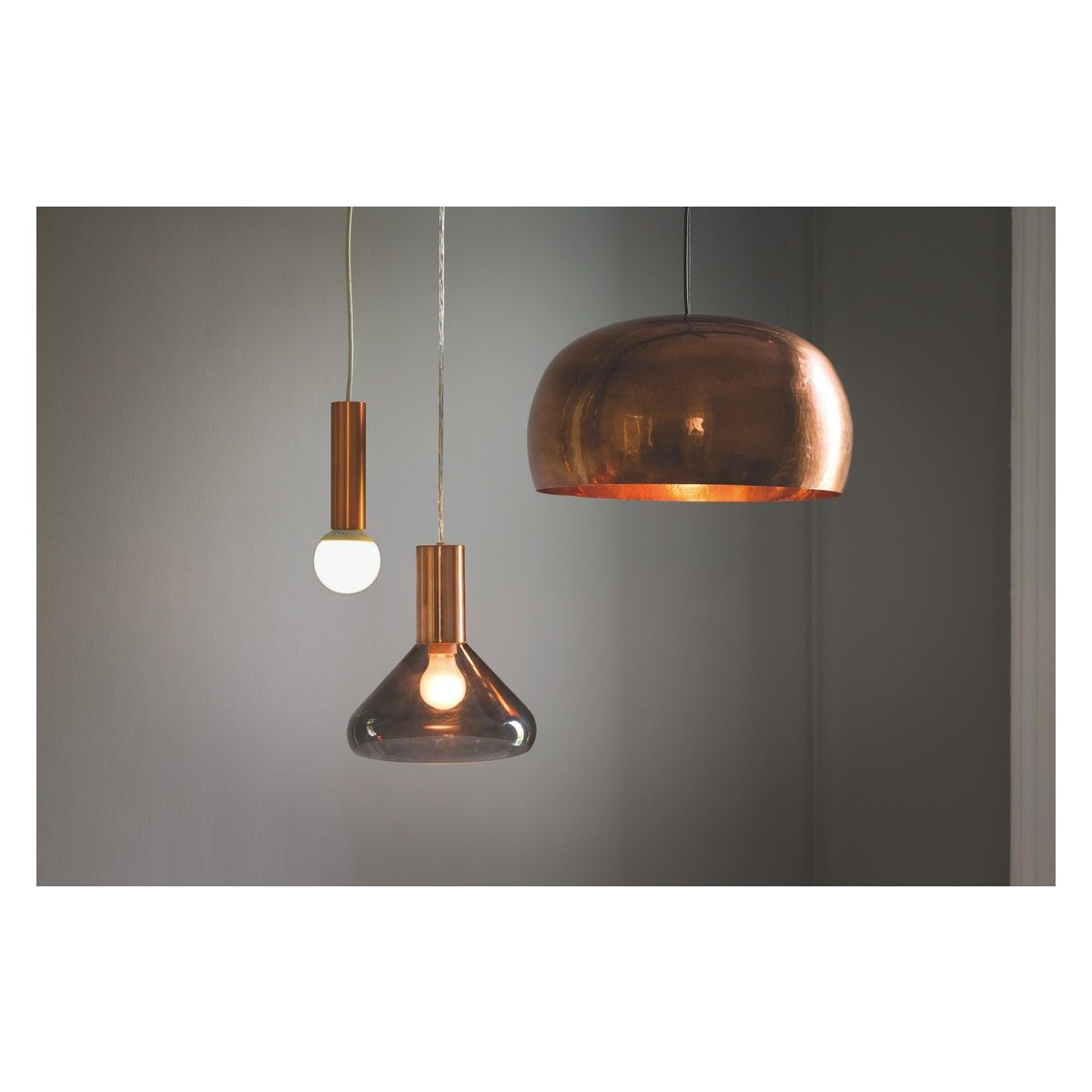 MARLOWE Smoked Glass And Copper Ceiling Light