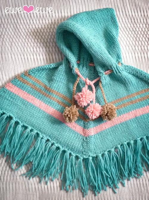 Pompom Poncho PDF Knitting Pattern | Poncho knitting ...