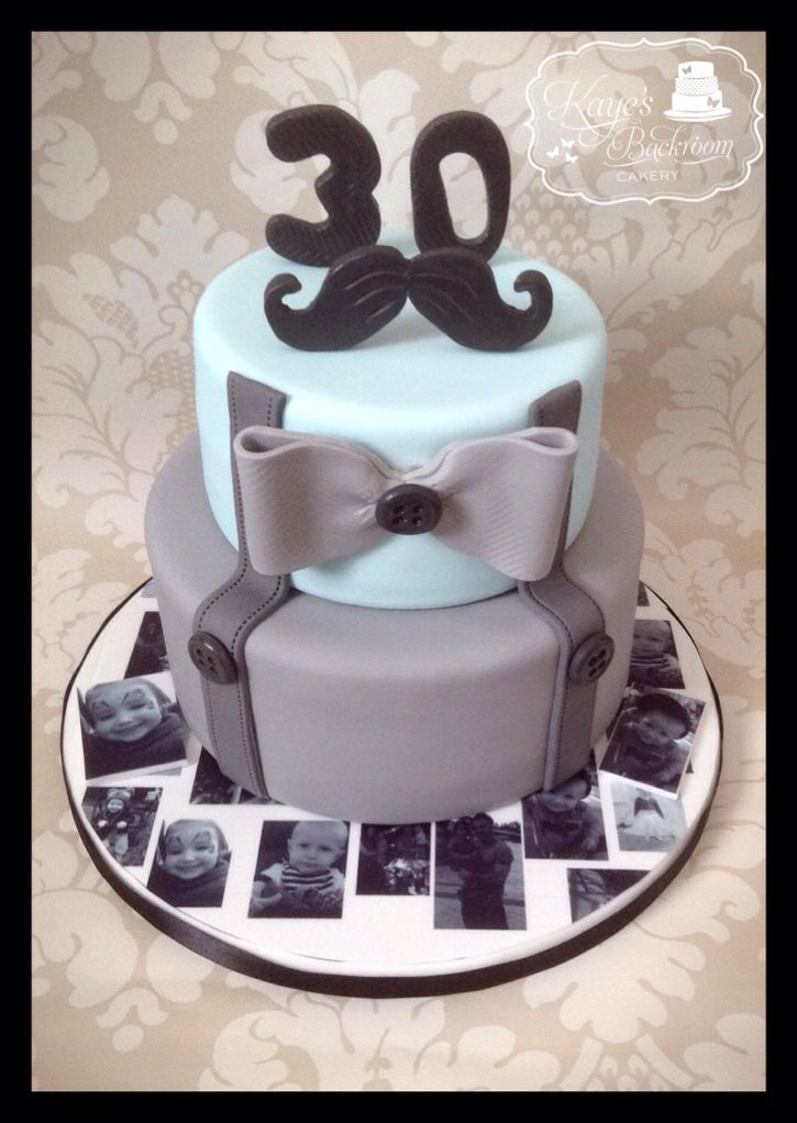 Moustache 30th birthday cake by Kayes Backroom Cakery 30th