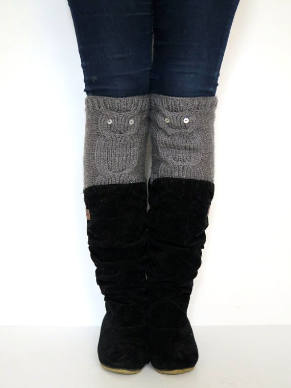 Womens Boot Cuffs Owl Owl Knit Boot Toppers Gift By Emofofashion