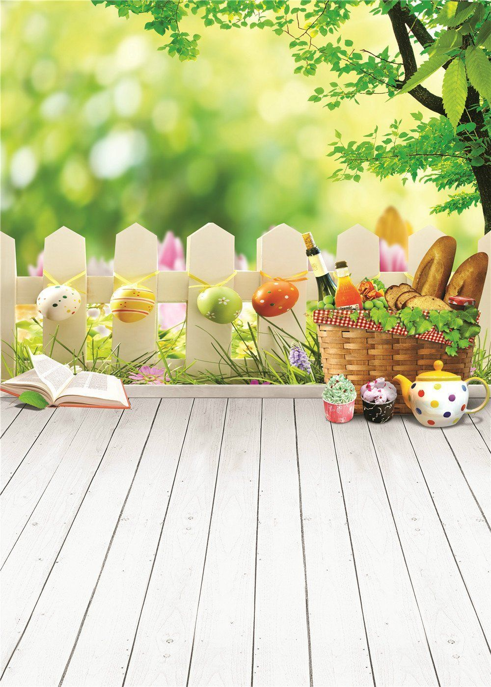 Easter Photography Backdrops Texture Wood Wall with Rabbit Background for Children Photo Studio style 1