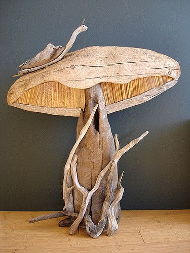 Driftwood Mushroom Sculpture with Zebra Wood accents.