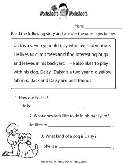 Reading Comprehension Worksheets - Free Printable Worksheets for .