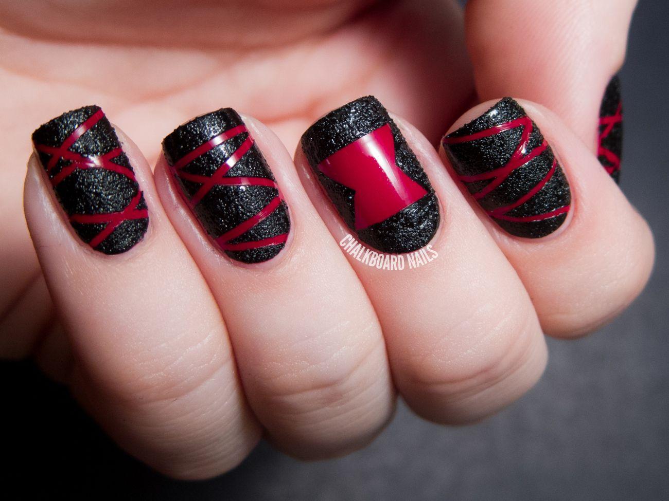 Tutorial Black Widow Spider Textured Nail Art Chalkboard Nails