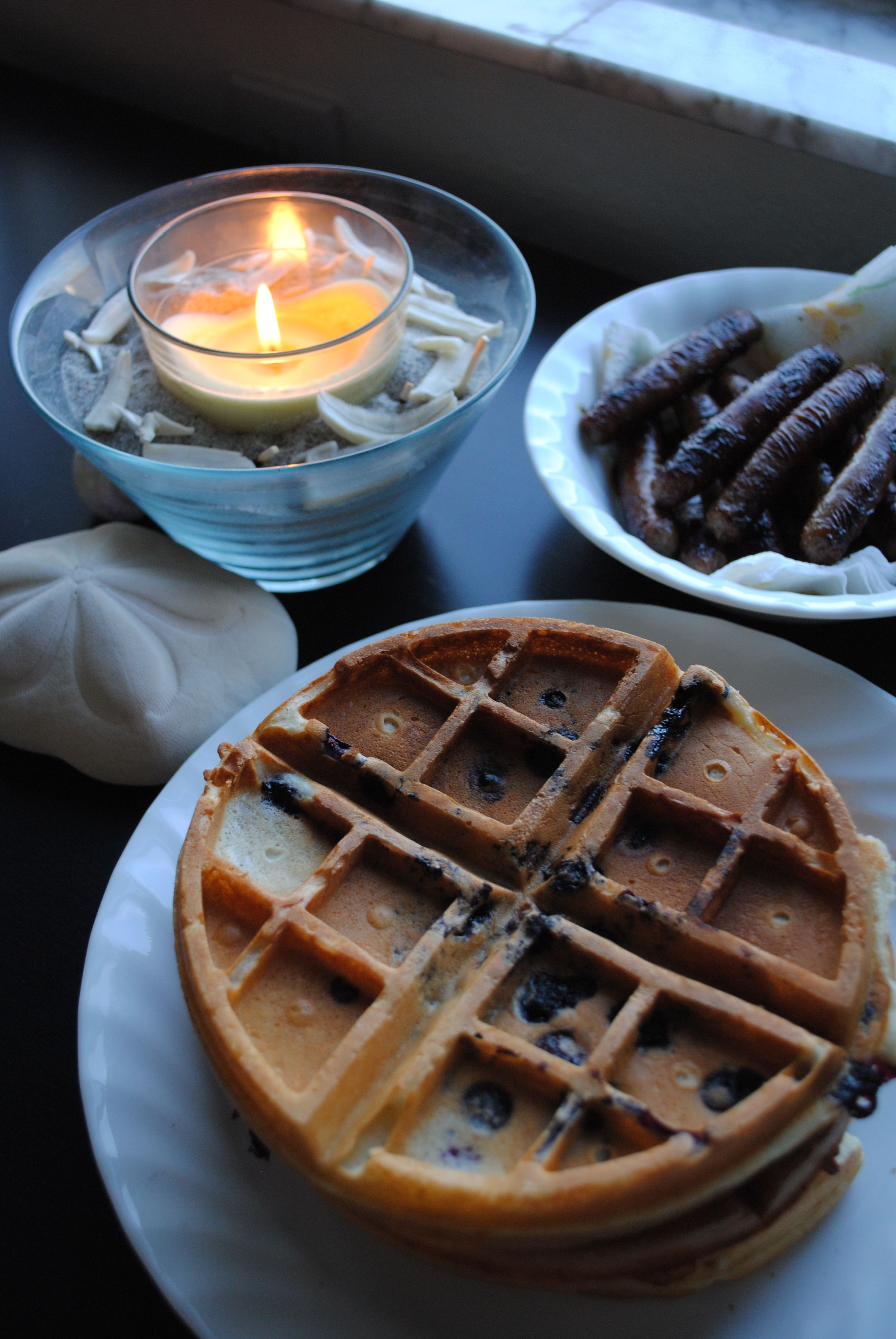 Blueberry Waffles and Brown Sugar & Honey Sausage