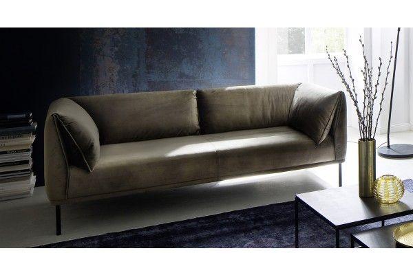KAWOLA Sofa CARRY 3-Sitzer Stoffsofa Stoff oliv-grün ...