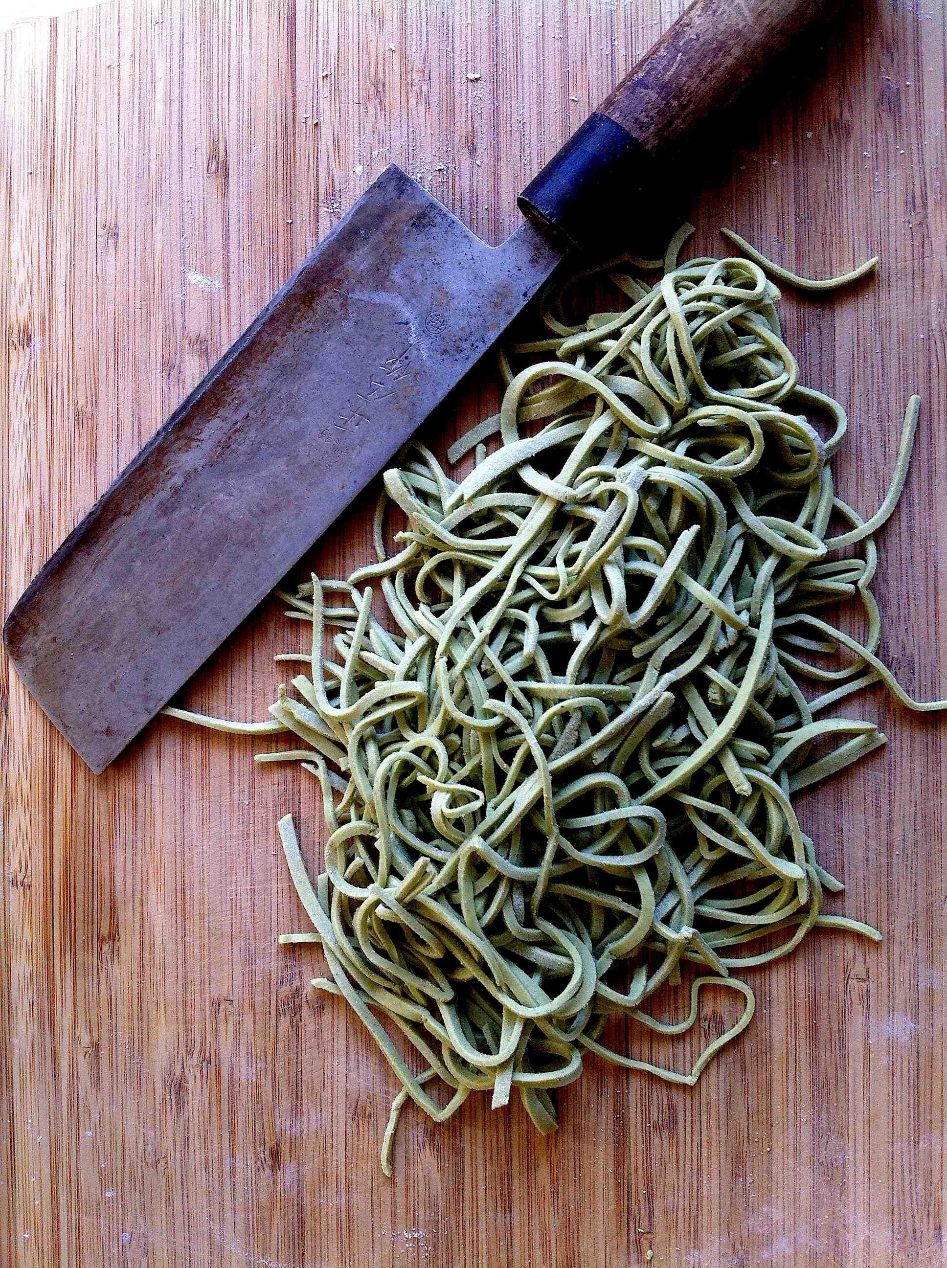 Green Tea Buckwheat Noodles- made by me! #greentea #buckwheat #japanese #noodles