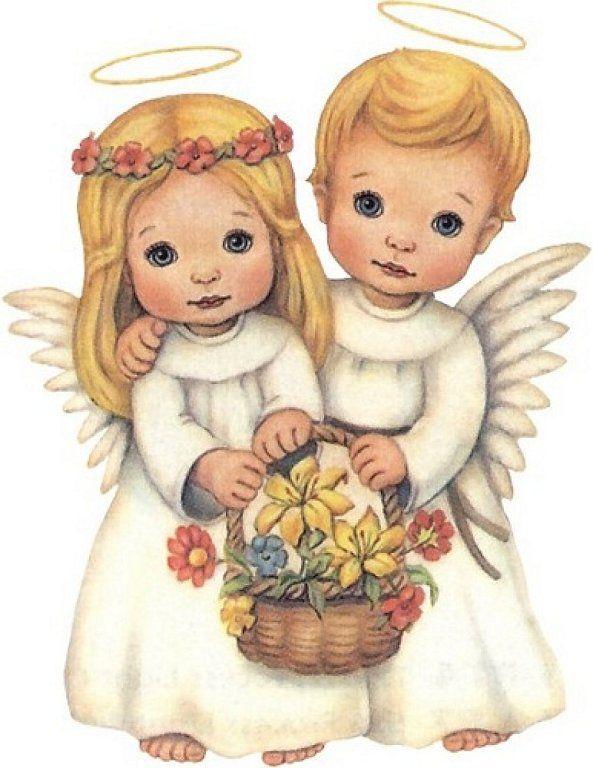 Картинка мальчика и девочки ангелочки