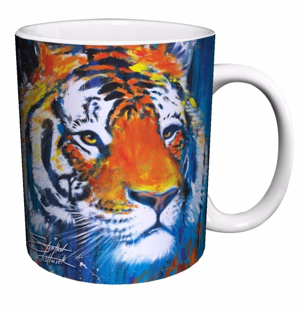NEW Heat Changing Tiger Design 6 Coffee Mug Mugs, Blue