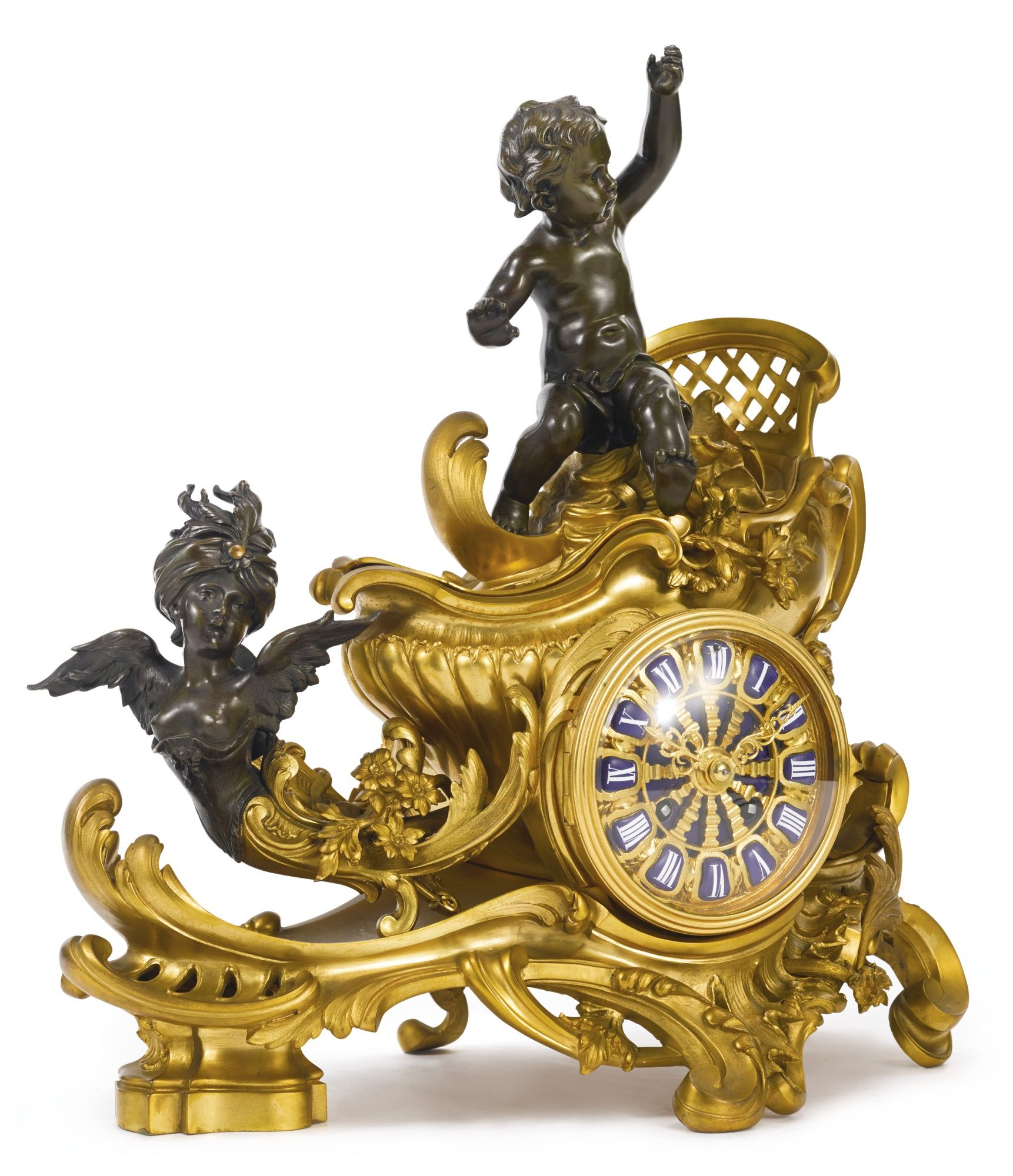 A gilt and patinated bronze horloge à poser Paris, early 20th century