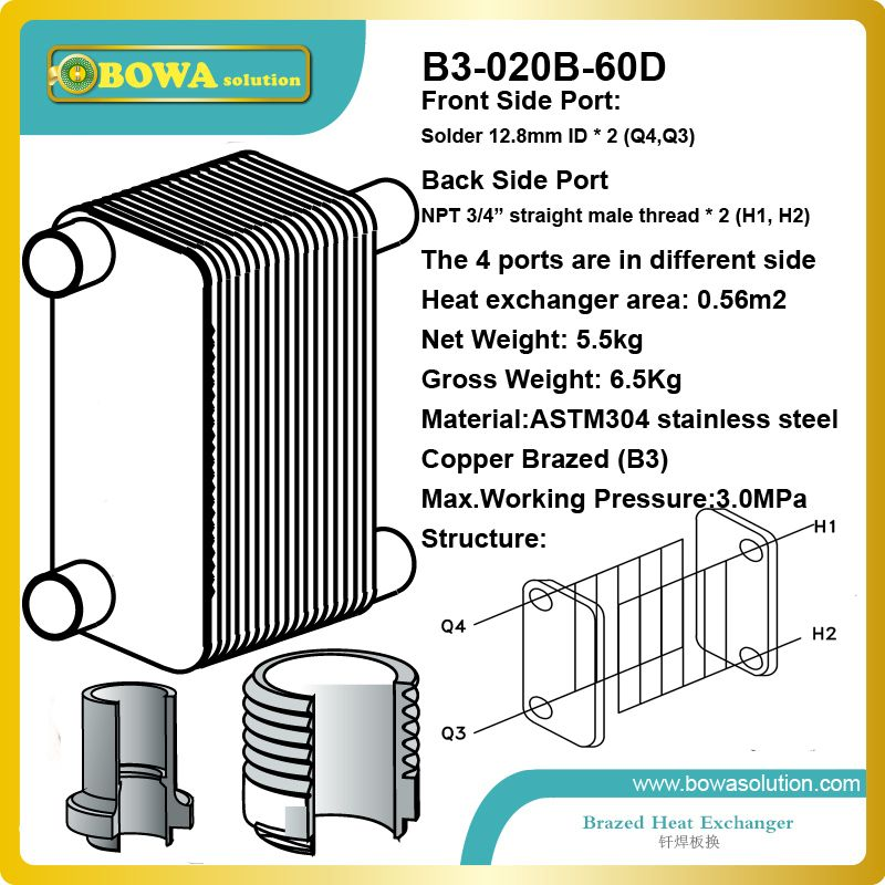 Stainless Steel Plate Heat Exchanger Suitable For Hydronic House