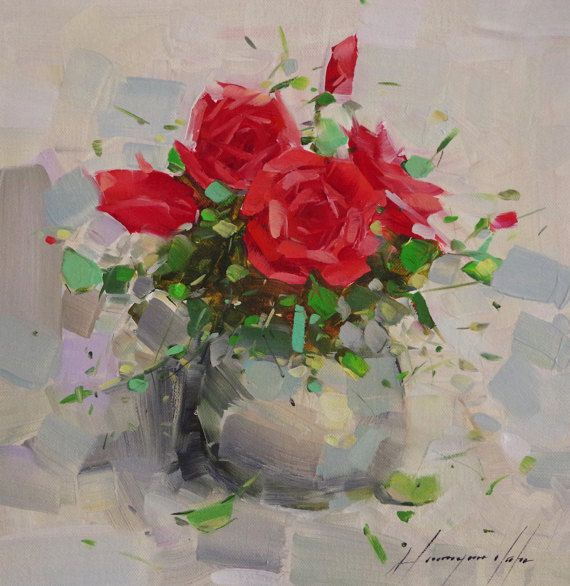 Vase Of Roses Flowers Oil Painting Impressionism One Of A Kind