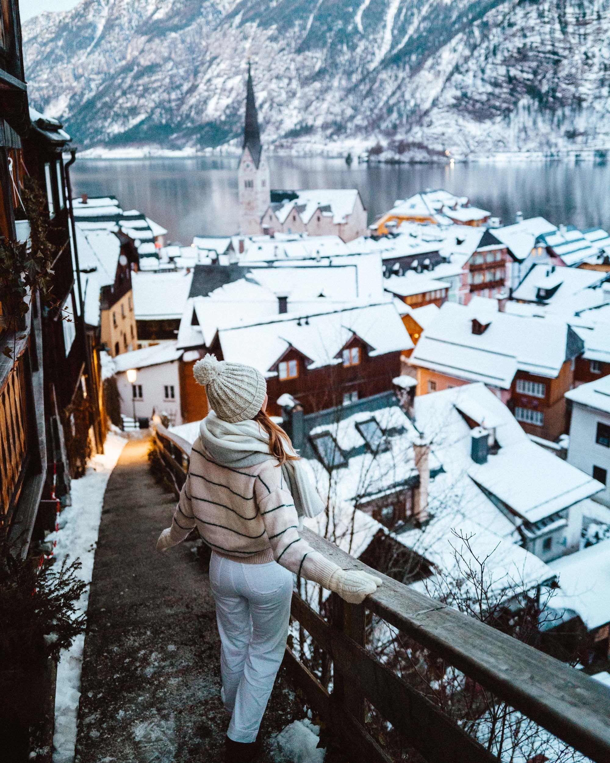 A Winter Fairytale In Hallstatt Austria Find Us Lost Hallstatt Winter Vacation Outfits Winter Vacation