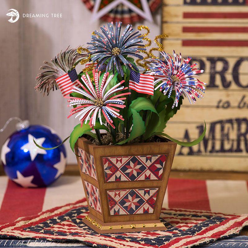 Patriotic Floral Planter SVG Paper crafts, Floral, Crafts