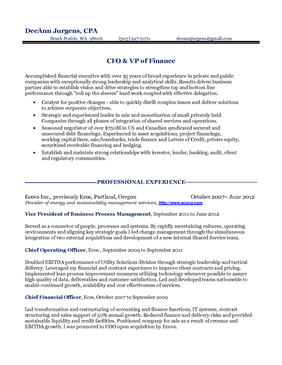 sample resume for cfo