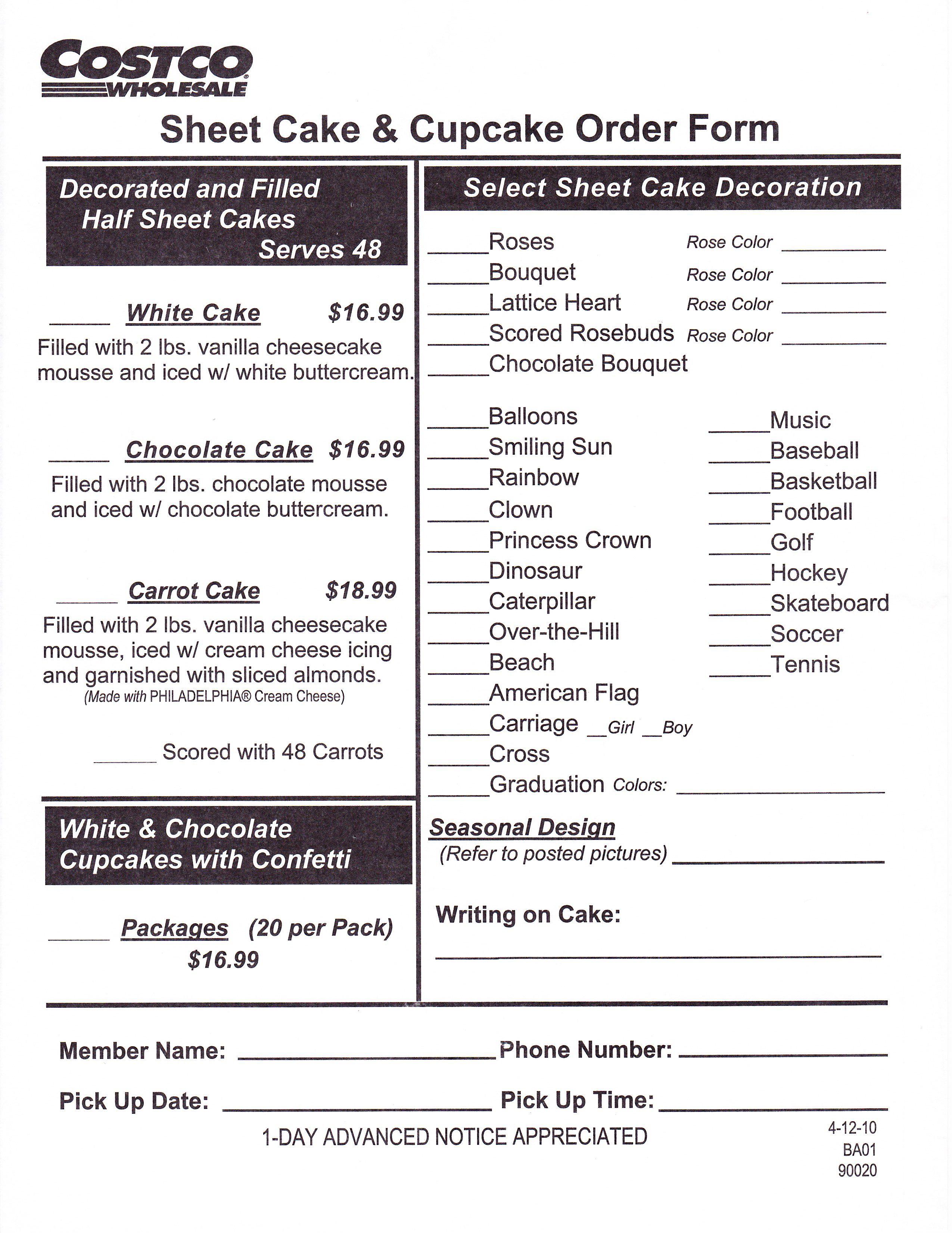 Costco Cake Order Form Cakepinscom Cams Birthday Costco Cake