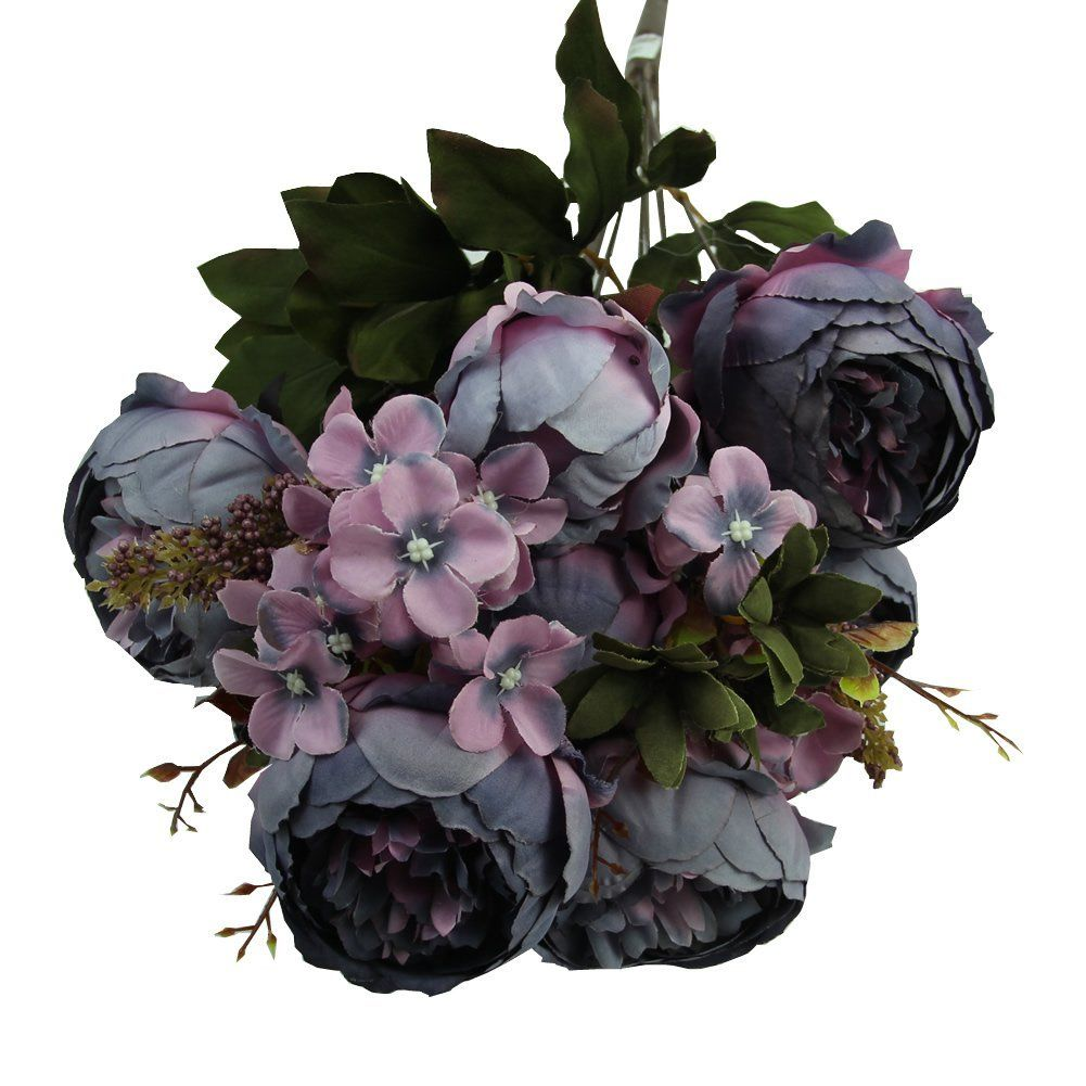 Amazon heroneo head bouquet vintage artificial peony silk