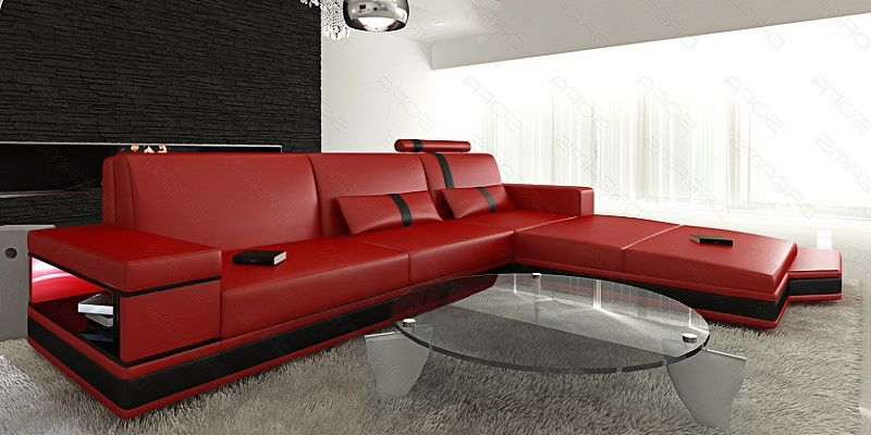 Red Leather L Shaped Sofa | L shaped sofa | L shaped sofa ...