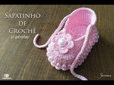 Sapatinho de Crochê para bebê passo a passo Professora Simone Eleotério