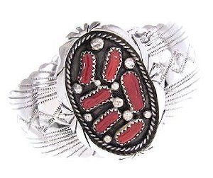 Coral Sterling Silver Navajo Cuff Bracelet Jewelry GS57119 SilverTribe. $169.99