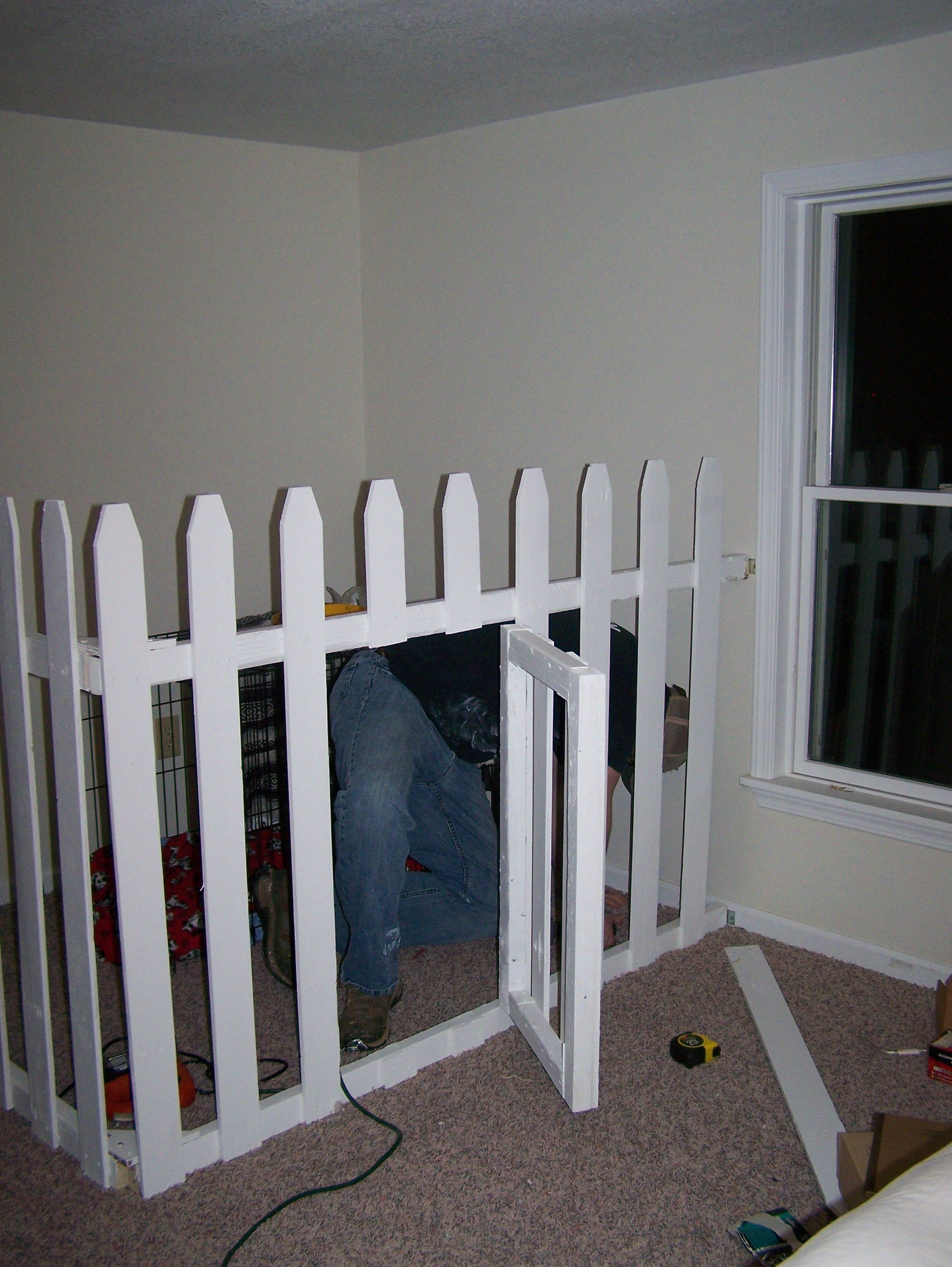 Dog Crate In The Corner Of Our Bedroom Picket Fencing With Swing Gate