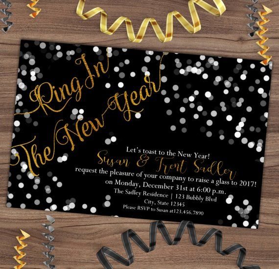 new years eve invitation new years party invite black gold foil confetti ring in the new ye