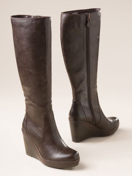 a0e382ac736a3 Shop Women's Dr. Scholl's Wide Calf Wedge Boots. Lightweight, vegan tall  boots with superb arch support and Memory Fit cushioning. Fit 17-19 inch  calves.