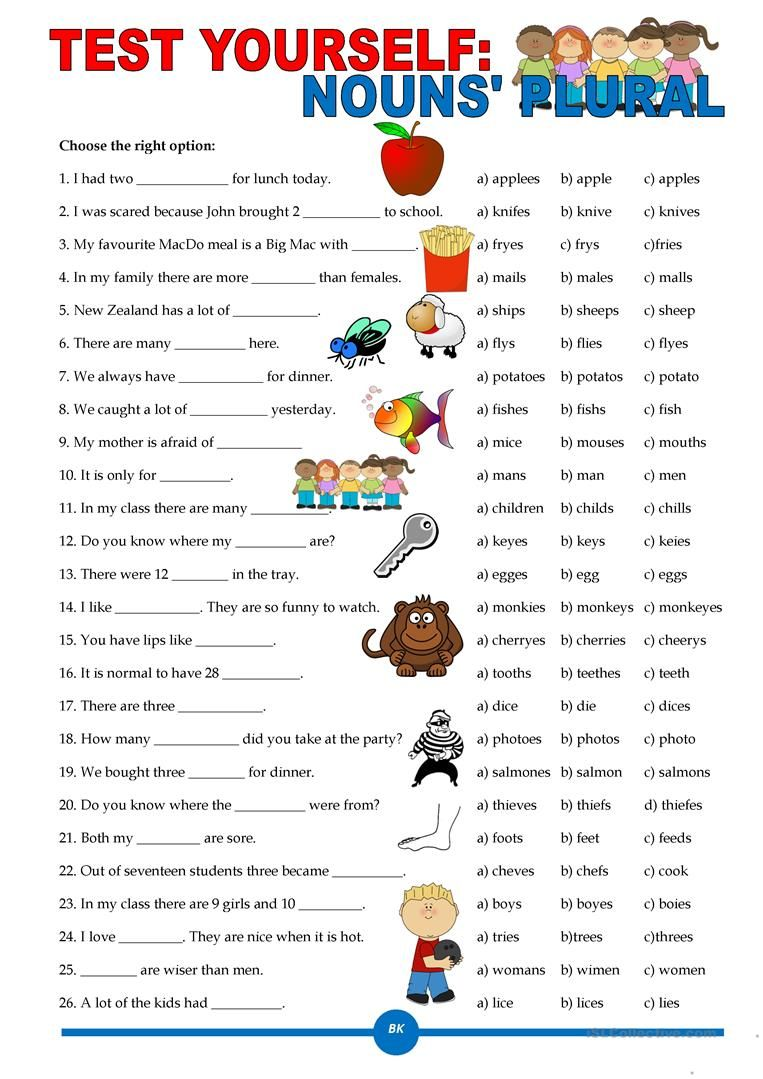 hight resolution of 15+ Esl Worksheets Plural Nouns