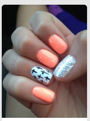 Peachy Orange Nails With Cross Design Glitter Nails Pinterest