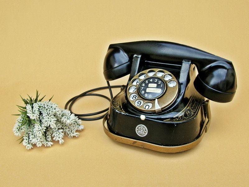 Vintage Telefone Altes Belgisches Telefon Bell Bakelit Schwarz