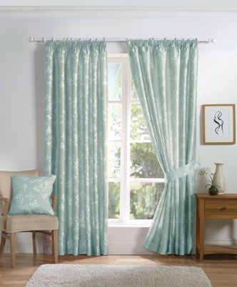 Anais Ready Made Lined Curtains Duckegg