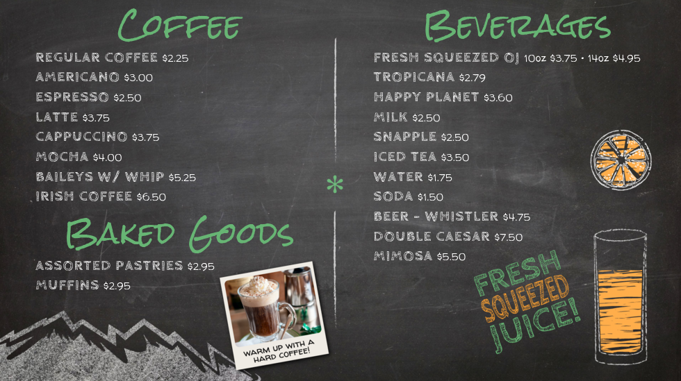 animated digital chalk menu board for riverside cafe in whistler bc canada