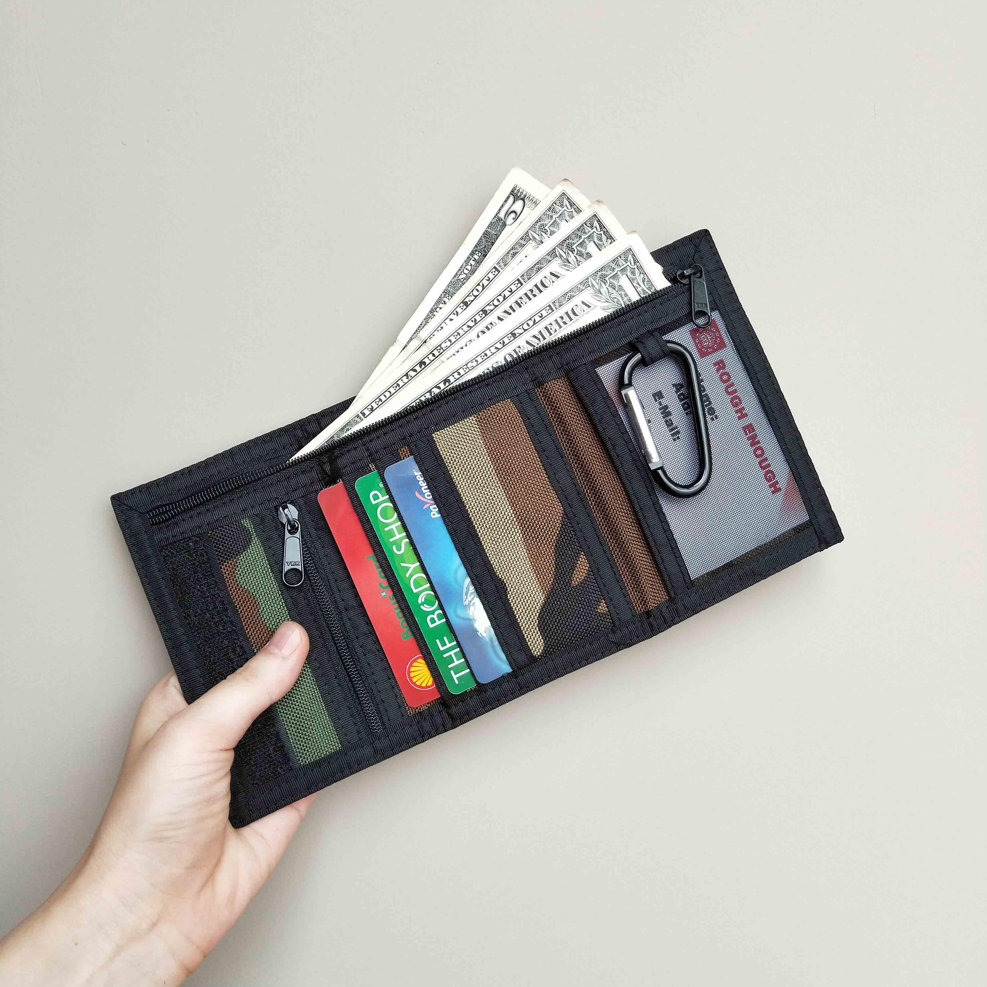 Girls Boys Ladies Mens Basic Black Rip Zip Wallet Purse Money Cash Holder