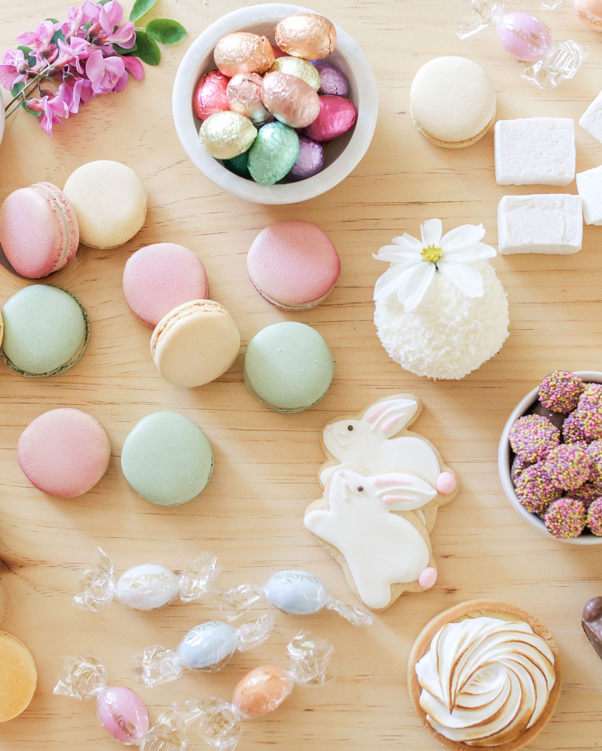 This Charming Easter Party is All About Pretty-in-Pastel Desserts | Martha Stewart Living - Make just one or two main desserts and then add in Easter candy like jelly beans, marshmallows, chocolate eggs and bunnies.