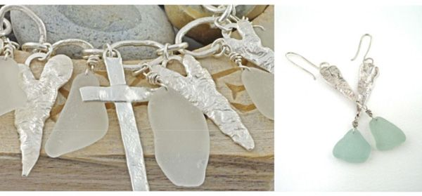 """Kate Chell Sea Glass jewellery. Kate Chell first found her love of Sea Glass on the beaches of Norfolk. Her collection 'Battered Hearts and Mermaids Tears' is one of unique and desirable jewellery pieces. As Kate say's """"using sea glass and pottery picked up from beaches can be a lovely reminder of a holiday""""  By using pieces of jewellery and recycling them she combines silver, gold, precious and semi precious stones along with her found sea glass to design her creations."""