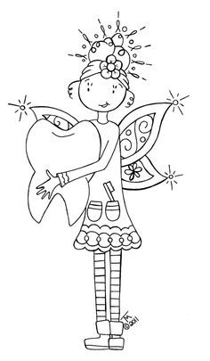TOOTH FAIRY, colour it, sew it, trace it, etc. free (With