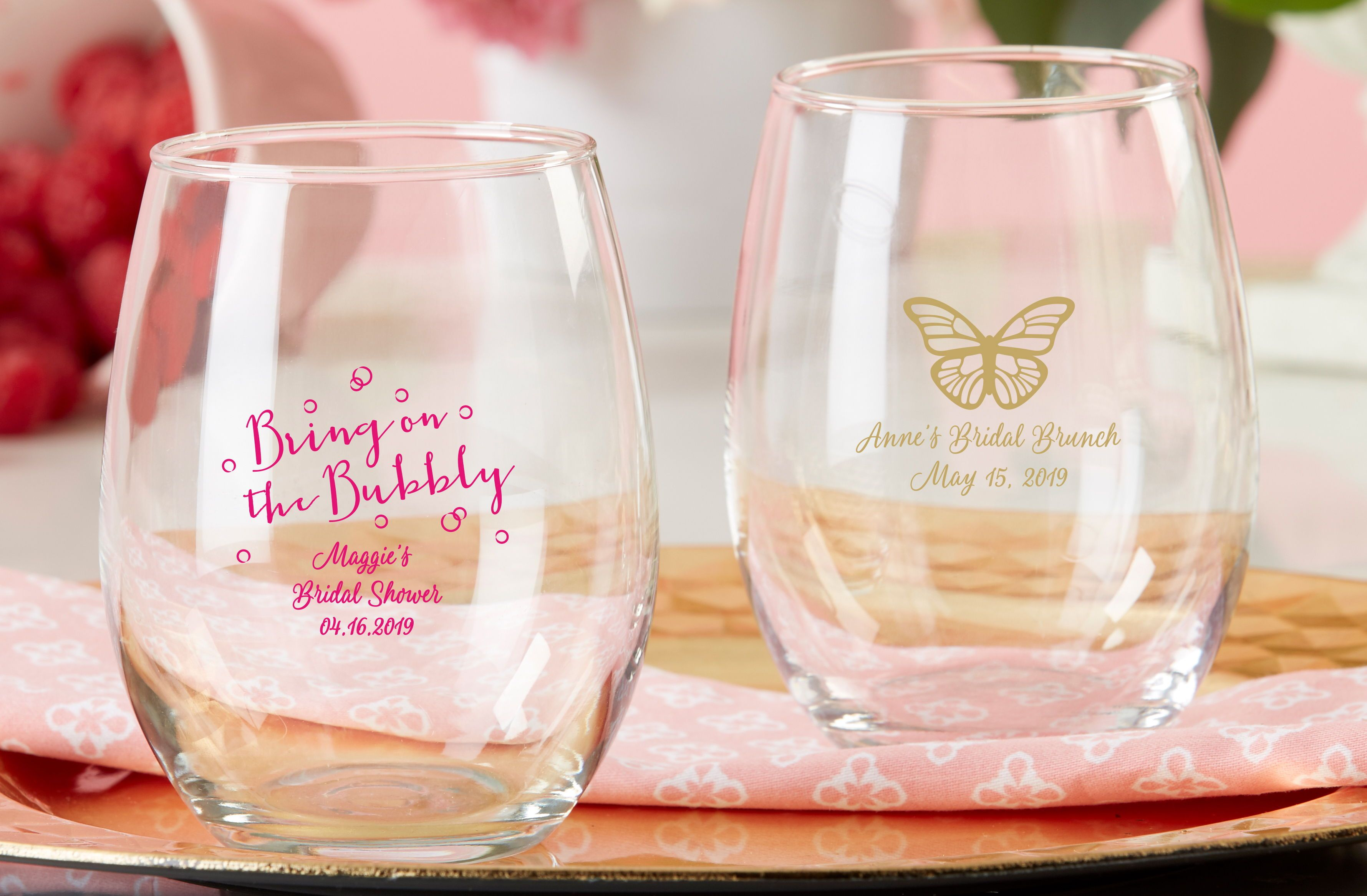 f916cc75e4b Personalized 9 oz. Stemless Wine Glass - Bridal Brunch | gifts ...