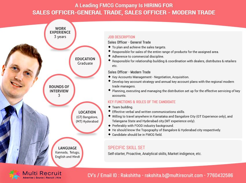 A Leading FMCG Company is hiring for Sales OfficerGeneral