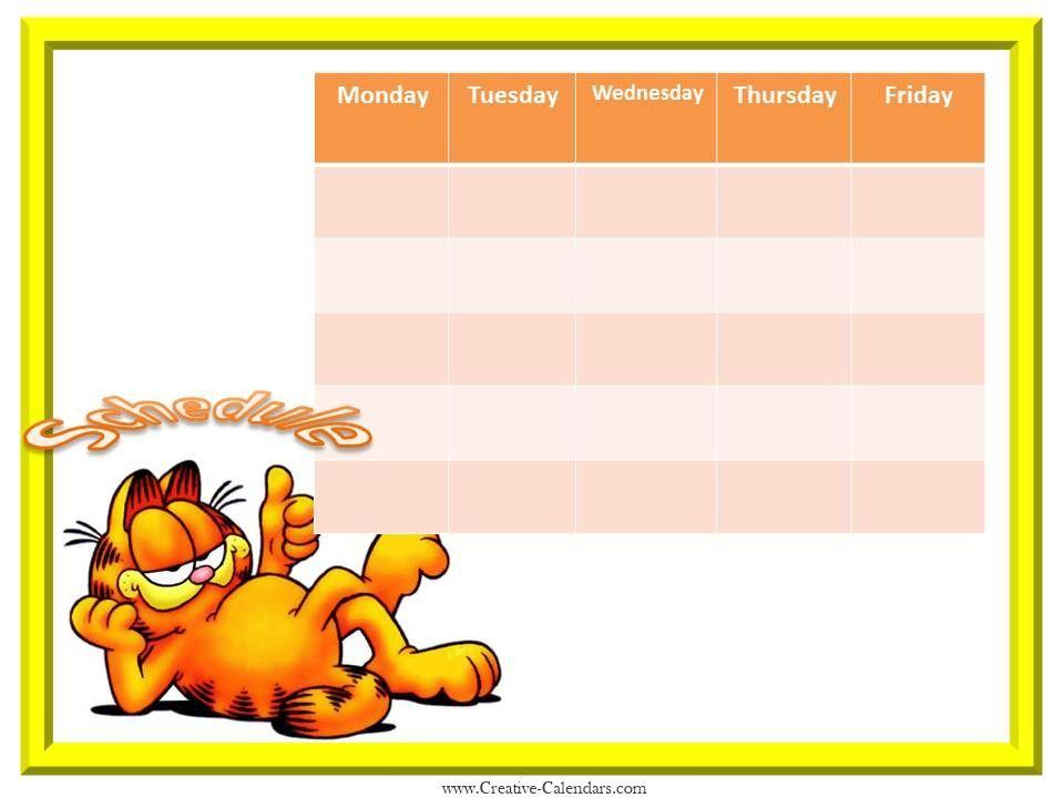 Weekly calendar template Organisation Pinterest Weekly