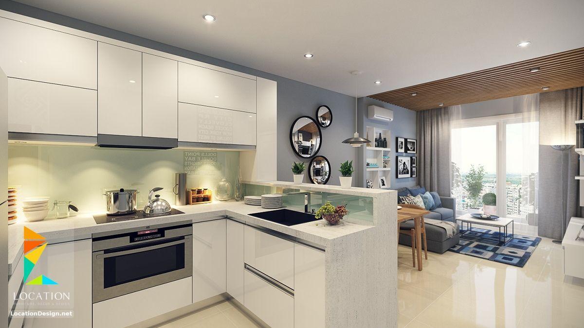 كولكشن مطابخ مفتوحه على الصاله للشقق الحديثة لوكشين ديزين نت Open Plan Kitchen Dining Small Open Plan Kitchens Open Concept Kitchen Living Room Small