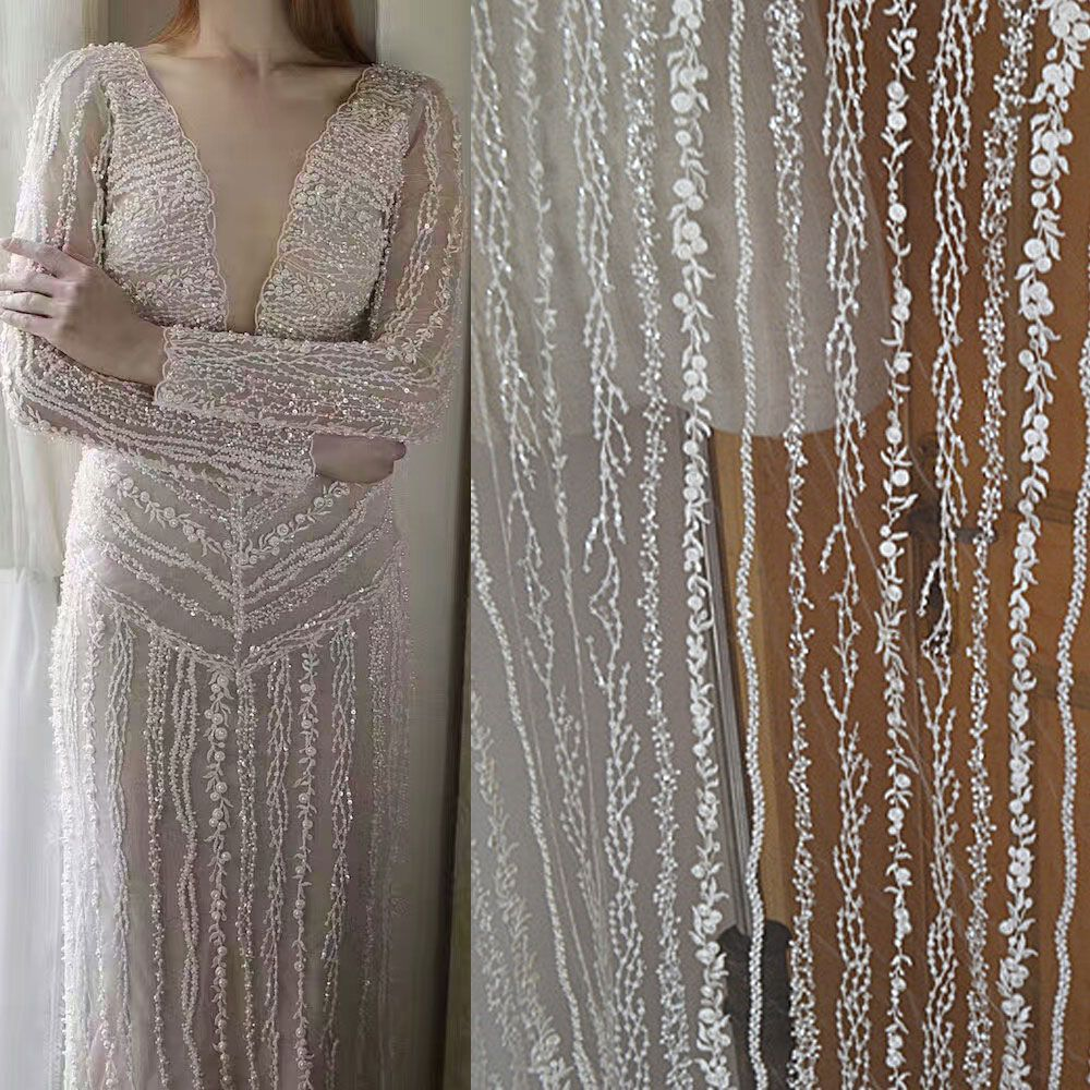 """Stunning Red Wedding Gown Fabric 55/"""" Wide Beaded Bridal Dress DIY Lace Tulle 1 Y"""