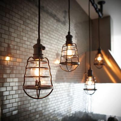 Home Decorators Collection 1 Light Aged Bronze Cage Pendant Light 25415 105 At The Home Depot Industrial Light Fixtures Home Lighting Kitchen Lighting Fixtures