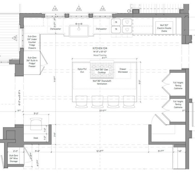 As This Floor Plan Shows The Simple But Well Detailed Layout Makes Everything Accessible And Encourages Kitchen Layout Plans Kitchen Floor Plans Kitchen Plans