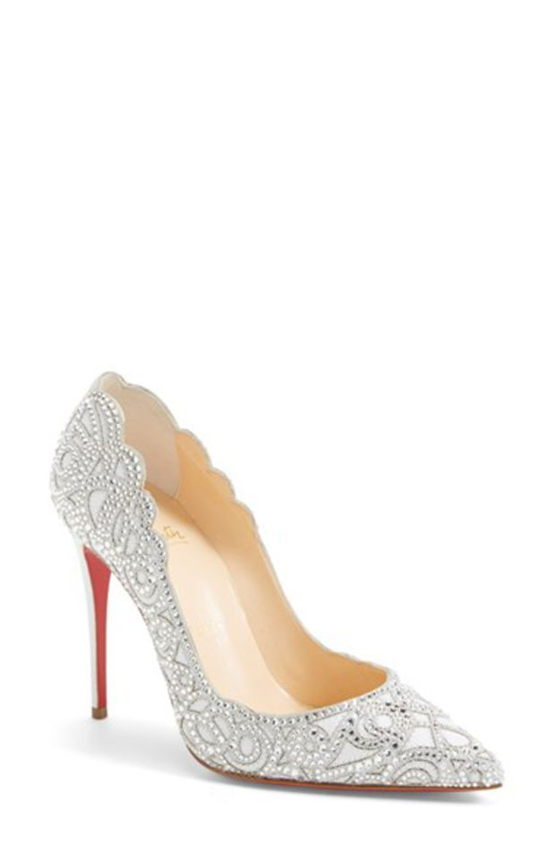 Women's Christian Louboutin 'Top Vague' Crystal Embellished Leather Pump. Yes please, for my wedding day of course!