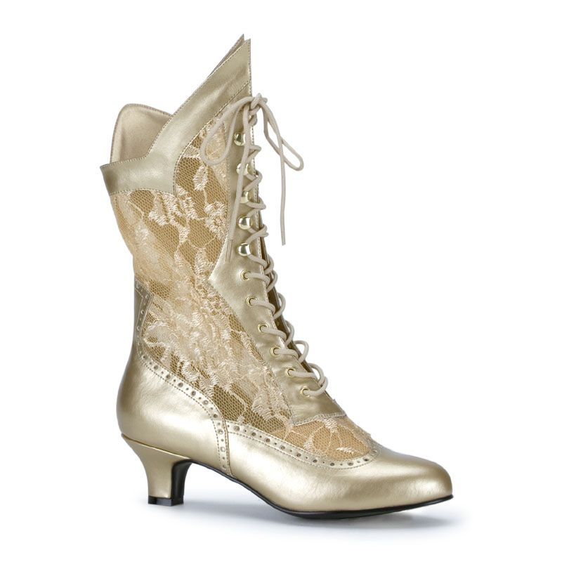 "DAME-115, Lace Victorian Ankle Boot, 2"" in Gold PU-Lace, by Pleaser"