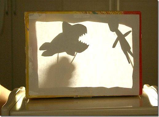 Make a shadow puppet theater- so cool!  Hello fhe!