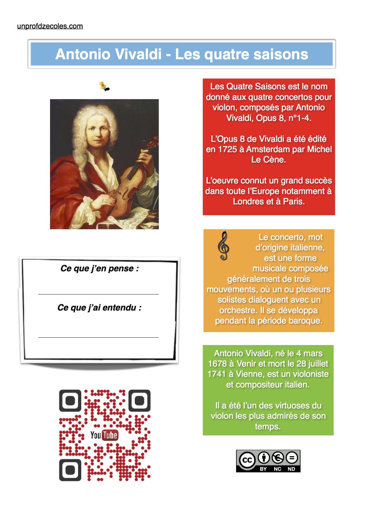 Les 4 Saisons De Vivaldi : saisons, vivaldi, Ecoute, Musicale, Classique.., Quatre, Saisons,, Musical,, Éducation