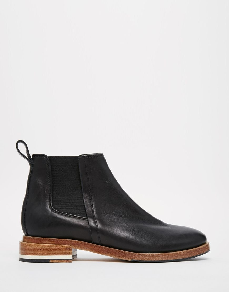 Buy Women Shoes / Whistles Roselle Jodphur Black Leather Flat Chelsea Boots
