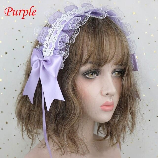 Photo of Lovely Sweet Lolita Lace Hairband Anime Maid Cosplay Hair Hoop Lace Ribbon Bowknot Headband Hair Accessories Girls Gift 2021 – Purple
